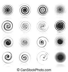 Ikonen schwarzer Spiralen. Eine Vektor-Illustration