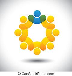 Ikonen von Angestelltenteam & Manager im Kreis deaktivieren - Konzeptvektor. Diese Ikone kann auch den Begriff Führungspersönlichkeit und Führungsqualitäten, Aufsicht und Personal, Gemeindemitglieder und Führer usw. darstellen