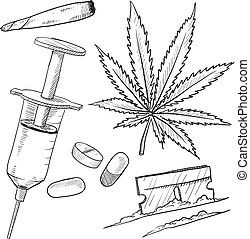Illegale Drogen Objekte zeichnen sich ab