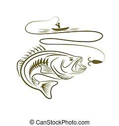 Illustration des Fischers in einem Boot und Big Mund Bass.