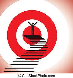 Illustration einer Person, die das Ziel erreicht und eine Herausforderung gewinnt. Die Grafik zeigt, dass ein entminderter & zuversichtlicher Mensch Erfolg hat, indem er das Ziel erreicht und gewinnt