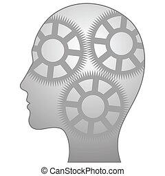 Illustration eines einzelnen denkenden Mannes
