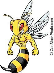 Illustration eines starken Bienenmaskottchens.