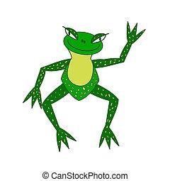 Illustration, fröhlicher grüner Frosch mit größeren Augen.