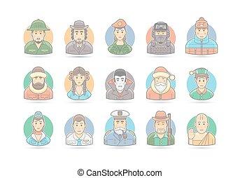 illustration., leute, set., zeichen, freigestellt, vektor, white., karikatur, ikone