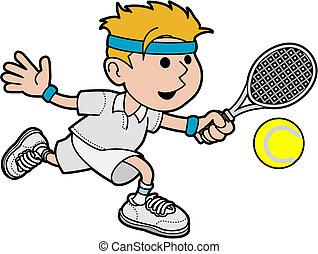 Illustration männlicher Tennisspieler