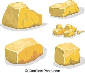 illustration., vektor, oder, design., erz, spiel, karikatur, goldenes, stein, satz, verschieden, boulders.