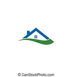 Illustration von Haus und swoosh abstrakten Logo-Design-Konzept Vorlage.