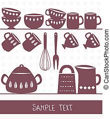 Illustration von Küchenutensilien und Besteck mit Raum für Text