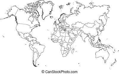 Illustration von sehr feinen Umrissen der Welt (mit Country Bor.