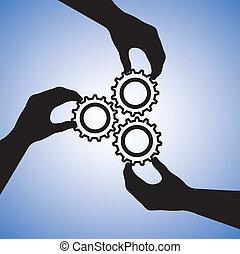 Illustration von Teamwork und Menschen, die für Teamerfolg zusammenarbeiten. Die Grafik umfasst Handsilhouette, die Rädchen halten, die auf Zusammenarbeit und auf Erfolg hinweisen
