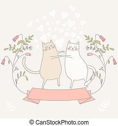 Illustration von zwei verliebten Katzen.