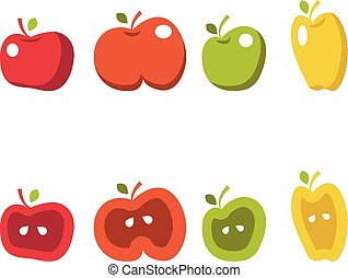 Illustrationen von Äpfeln.