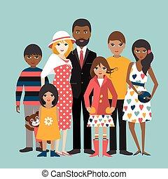 ilustration, familie, gemischten rennen, 5, vector., children., karikatur