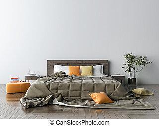 Im Schlafzimmer. 3D Illustration