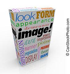 Image-Wort-Produkt-Paket erste Eindruck.