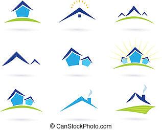 Immobilien / Häuser mit Logo-Ikonen
