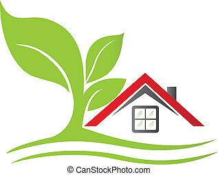 Immobilienhaus mit Baumlogo