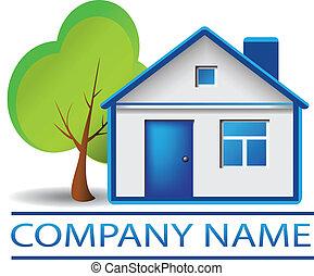 Immobilienhaus und Baumlogo