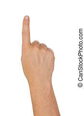 index, freigestellt, hand, finger, hintergrund, weißes
