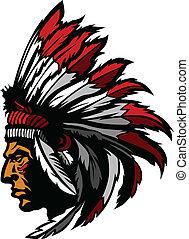 Indian Chief Maskottchen Kopfgrafik