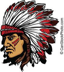 Indian Chief Maskottchenkopfvektor gra