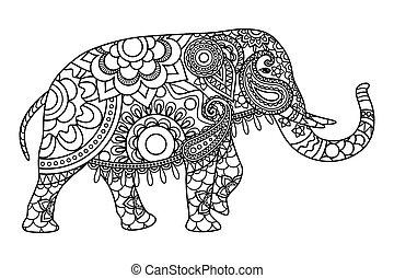 Indianer-Elefant-Farbenvorlage