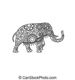 Indischer Elefant mit dekorativem Stammesschmuck