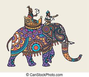 Indischer Maharadscha auf dem Elefanten