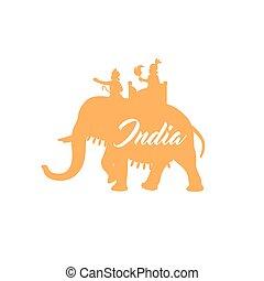 Indischer Maharadscha auf Elefanten-Orange Silhouette