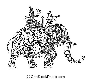 Indischer Maharadscha auf Elefantenfarbenseiten