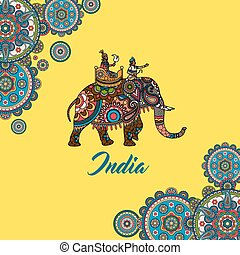 Indischer Maharadscha, der auf Elefanten sitzt