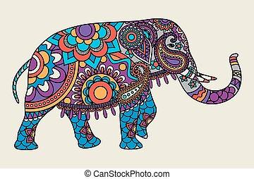Indischer ornantischer Elefant, farbige Analphabeten