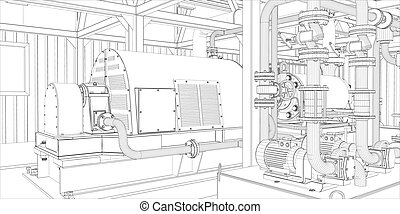 industrie, equipment., wire-frame, render, 3d