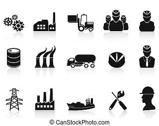 industriebereiche, satz, schwarz, heiligenbilder