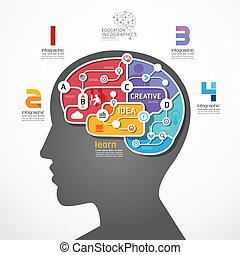 Infographic Template Brain Social Line Link Konzept Vektor Illustration.