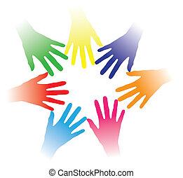 Inklusive der farbenfrohen Hände, die zusammengehalten werden, deuten auf soziale Vernetzung, Teamgeist, Menschenfreundlichkeit, Multiraciale Gruppe von Menschen, Partnerschaft, gegenseitige Hilfe, Gemeinschaft von Menschen usw. hin.