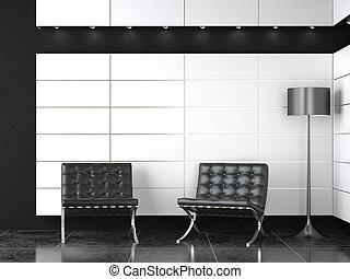 Innenarchitektur des modernen Schwarz-Weiß-Empfangs