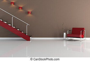 inneneinrichtung, modern, treppenaufgang