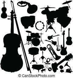 instrument, silhouetten, vektor, musik