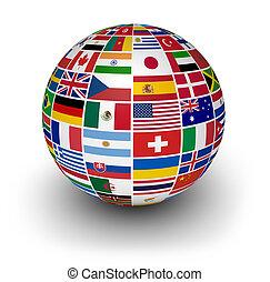 international, erdball, flaggen, welt