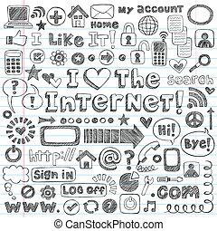 Internet-Web-Doodle-Icon-Vektor-Set