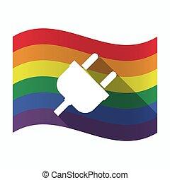 Isolierte schwule Flagge mit einem Stecker.