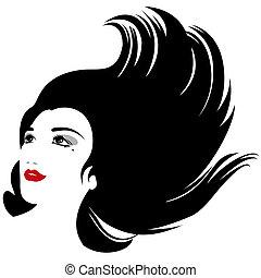 Isolierte Vektorfrau mit fließenden Haaren