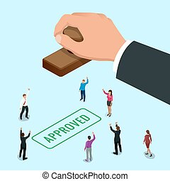 Isometirc Konzept Hand of Business Man stamping genehmigt Wort auf einem Papier. Angemessene Stempel-Flach-Vektor isometrische Abbildung