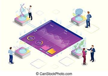 Isometric Big Data Network Visualization, fortgeschrittene Analysen, Interaktion der Datenanalyse, Forschung, Audit, demografische Intelligenz, Planung, Statistik, digitale DNA-Struktur, Management.