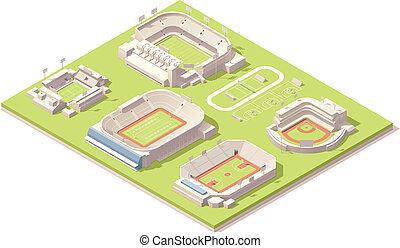Isometrische Stadiongebäude sind aufgestellt