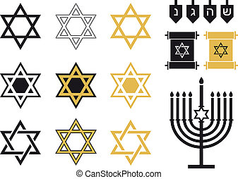 Jüdische Sterne, religiöse Symbole.