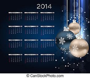 jahr, abbildung, vektor, neu , 2014, kalender