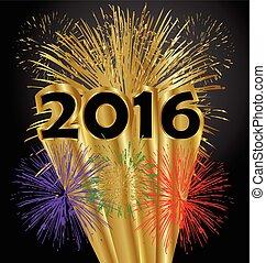 jahr, glücklich, feuerwerk, 2016, neu
